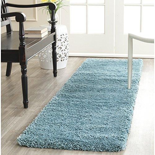 Safavieh Milan Shag Collection SG180-6060 Aqua Blue Runner (2' x 10') ()