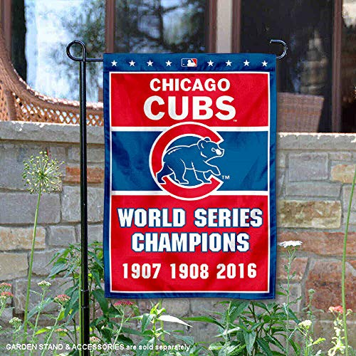 Cubs Chicago Yard - WinCraft Chicago Cubs 3-Time World Series Champions Double Sided Garden Flag