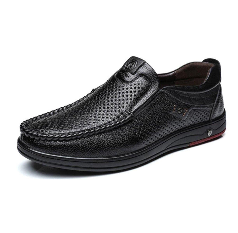 Hombres Casual Cuero Sandalias Agujeros Zapatos Huecos Transpirable Antideslizante Zapatos 41|Black Black