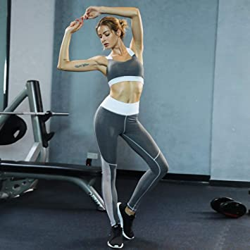 YANGCONG Ropa de Fitness de Yoga Gris Traje Deportivo de ...