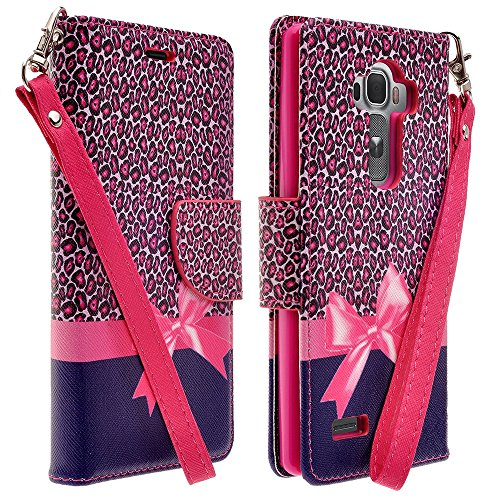LG G4 Case, Deluxe Pu Leather Folio Wallet Flip Case Cover With Kickstand and Detachable Wrist Strap For LG G4 (Hot Pink ()