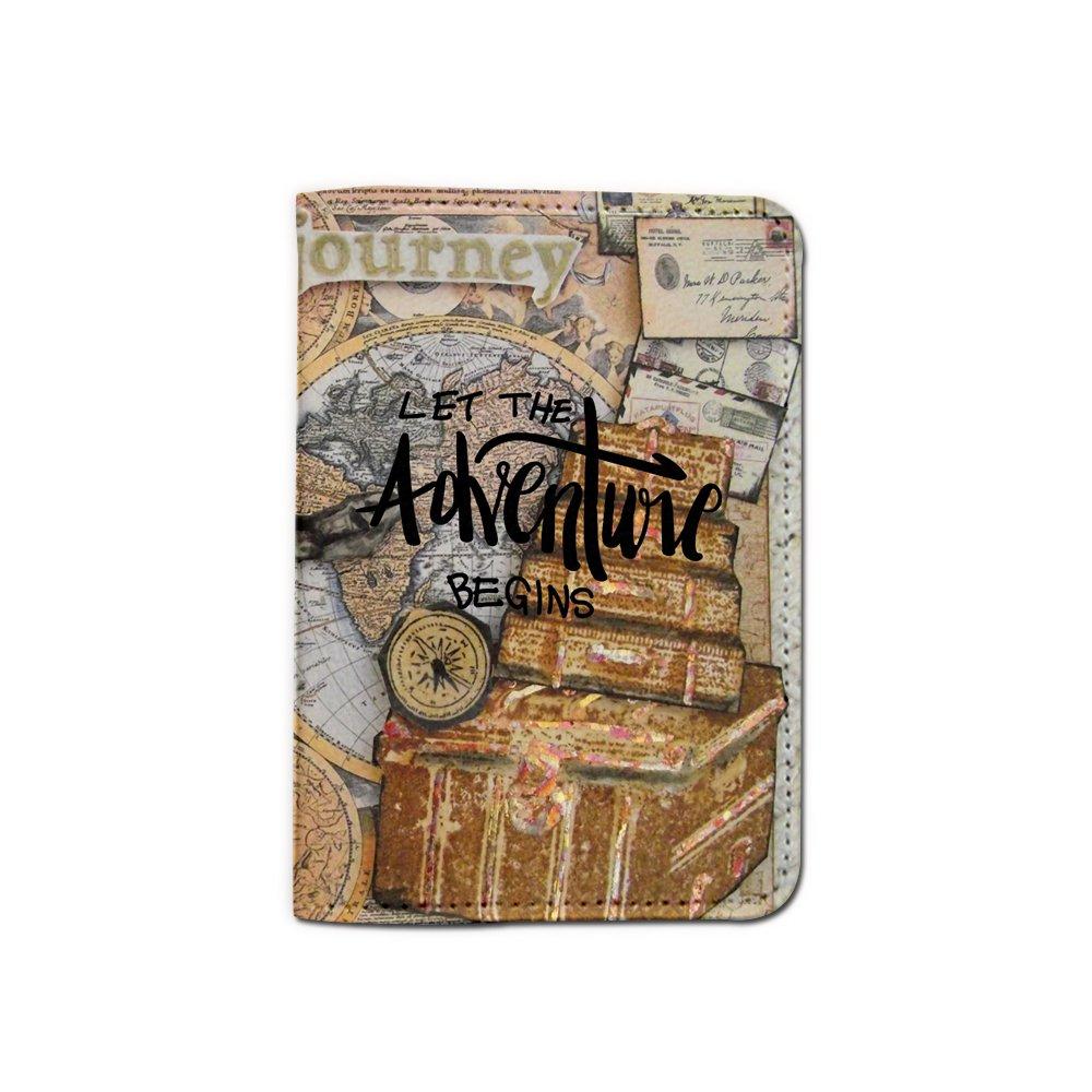 Let The Adventure Begins World Travel Passport Holder Customized Passport Covers Passport Wallet_Emerishop (PPLA41)