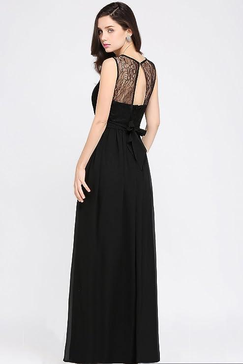 MisShow sukienka wieczorowa, bez plecÓw, z ramiączkami, z koronki, długa: Odzież