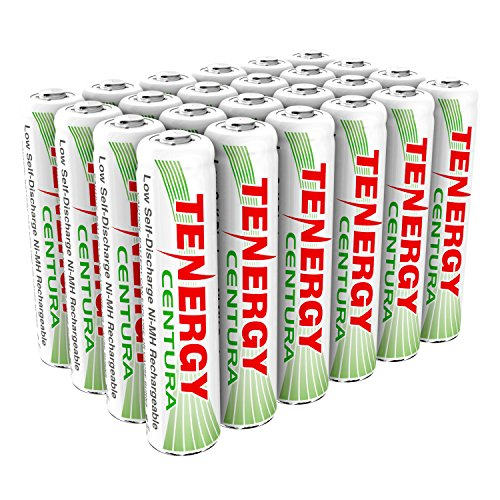 Tenergy Centura AAA NiMH Rechargeable Battery, 800mAh Low Self Discharge Batteries, Pre-charged AAA Battery, 24 Pack