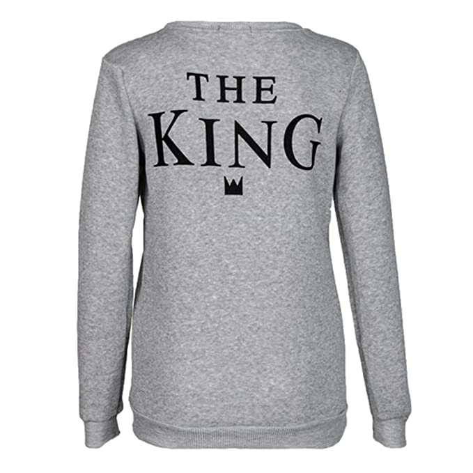 Blusas Pareja Sudaderas Otoño - Camisetas Manga Larga Camisetas Primavera Hoodies Amantes Festival Regalo KING QUEEN