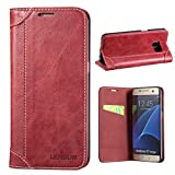 Samsung Galaxy S7 Edge Case, Lensun Genuine Leather Wallet Magnetic Flip Case Cover for Samsung Galaxy S7 Edge 5.5' - Wine Red (DX-S7E-WR)