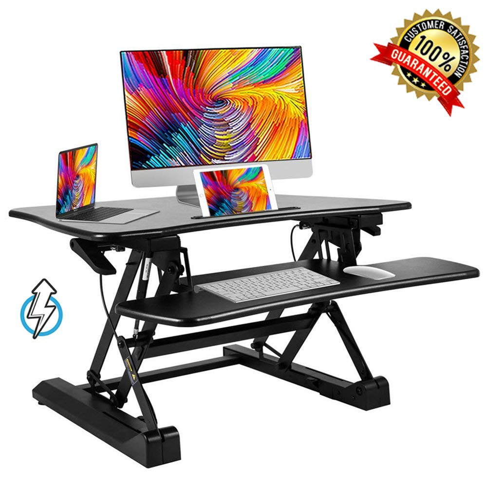 Bonnlo 36'' Standing Desk Height Adjustable Sit to Stand Desk Riser with Large Keyboard Tray | Stand up Desk Converter Riser for Duel Monitors
