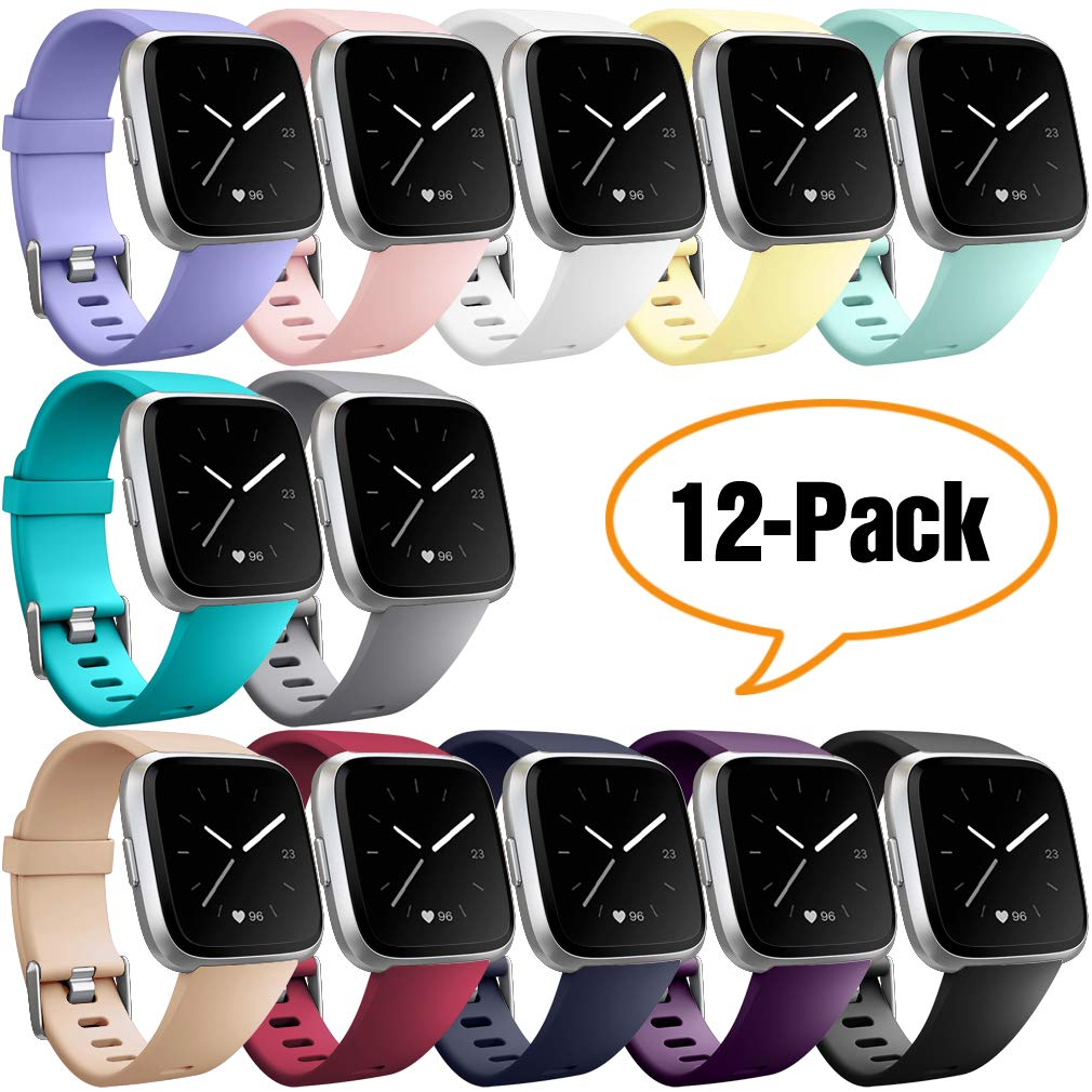 Hamile Replacement Bands Compatible for Fitbit Versa/Versa 2/Lite/SE, Classic Soft Watch Band Straps Wristbands for Fitbit Versa/Lite & Special Edition Smartwatch, for Women Men,12 Colors, Small by Hamile
