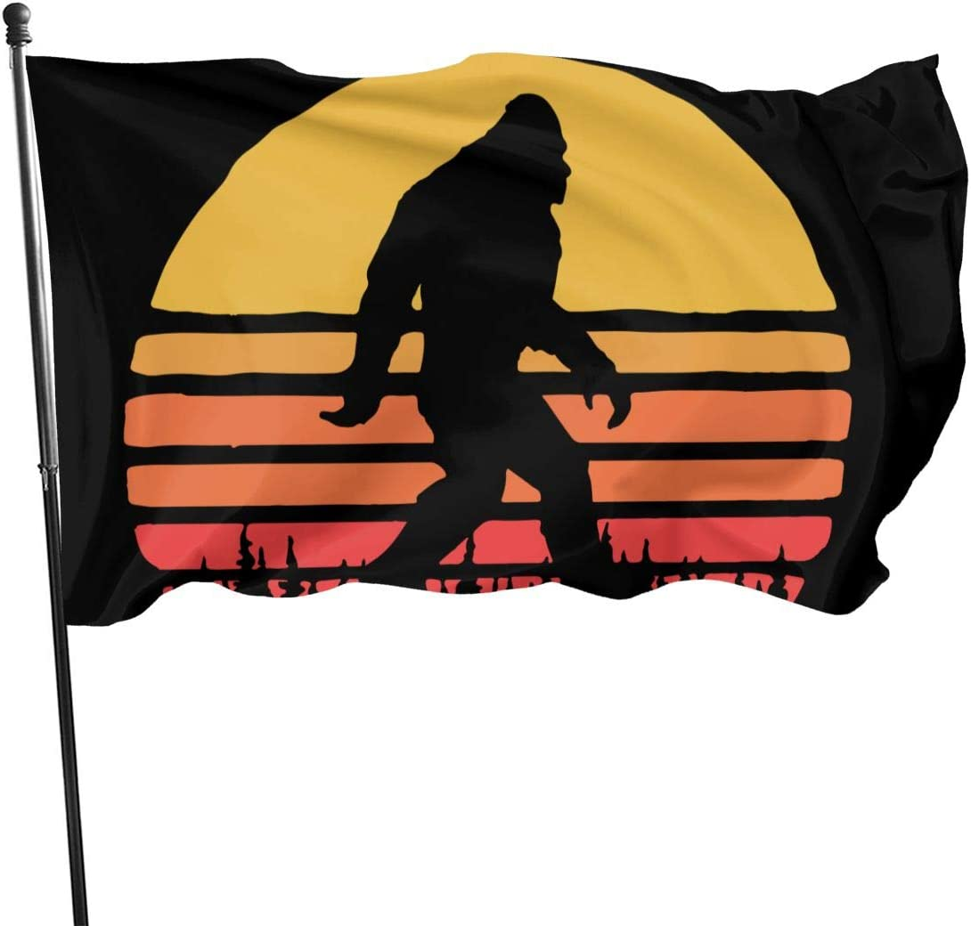 BJACKFLY House Yard Retro Bigfoot Silhouette Sun Garden Flag Decoration One Size for Outdoor Indoor Lawn Party Decor