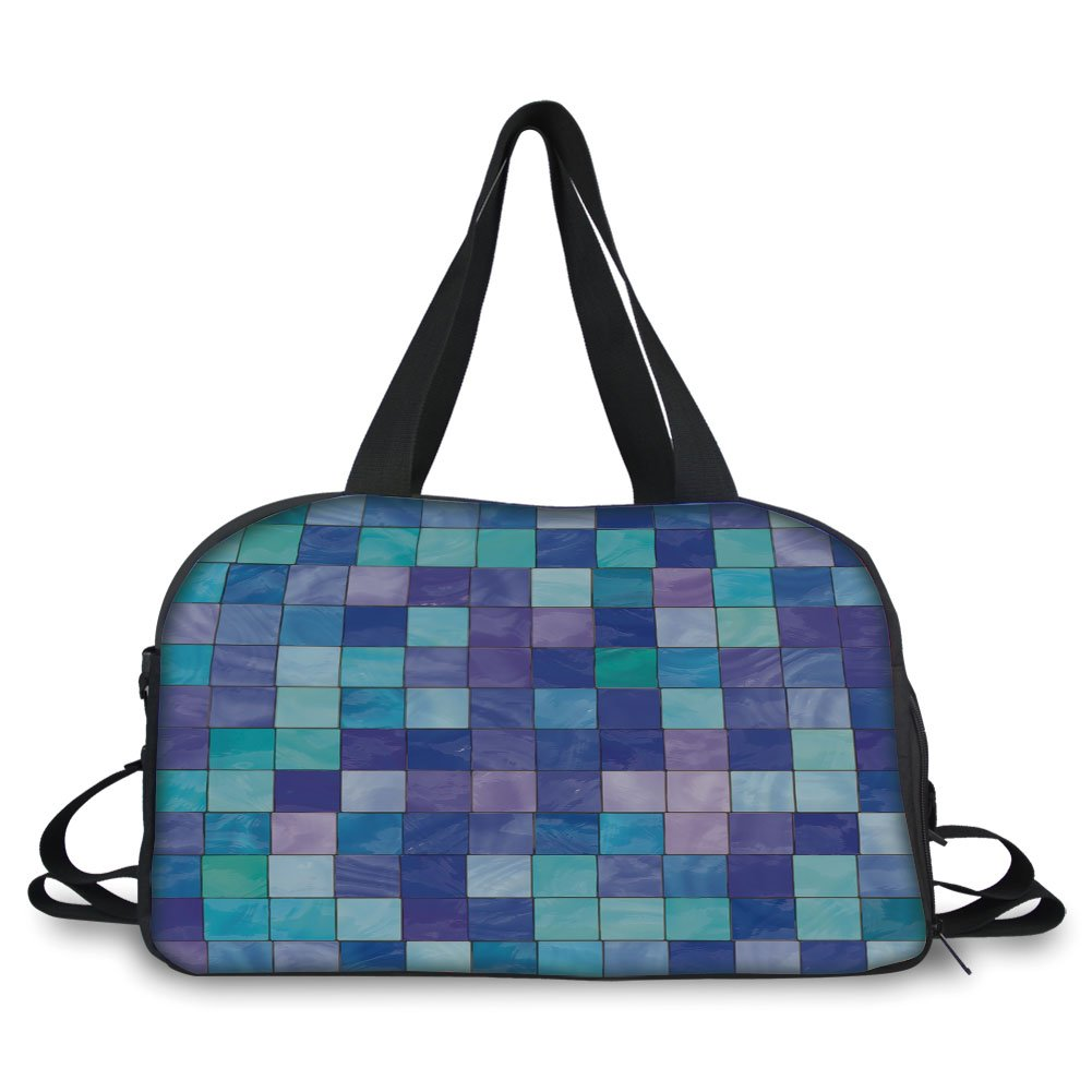 Trunk,Navy and Teal,Stained Glass Inspired Design Checkered Pattern Dreamy Fantasy Colors Shades Decorative,Multicolor,Picture Print