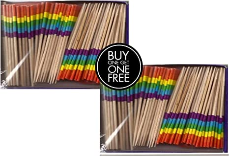 2 Boxes Mini Rainbow Toothpick Flags BOGO Buy 1 Box of 100 and Get Another Box Free Total 200 Small Mini LGBTQ Flag Cupcake Toothpicks or Tiny Cocktail Sticks /& Picks