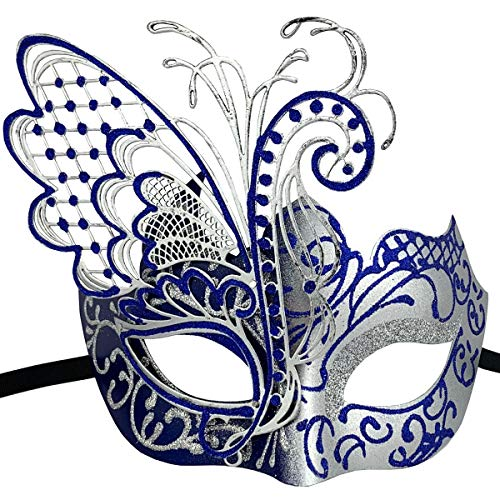 Xvevina Masquerade Mask for Women Shiny Glitter Venetian Pretty Party Evening Prom Mask (Butterfly Silver&Blue)