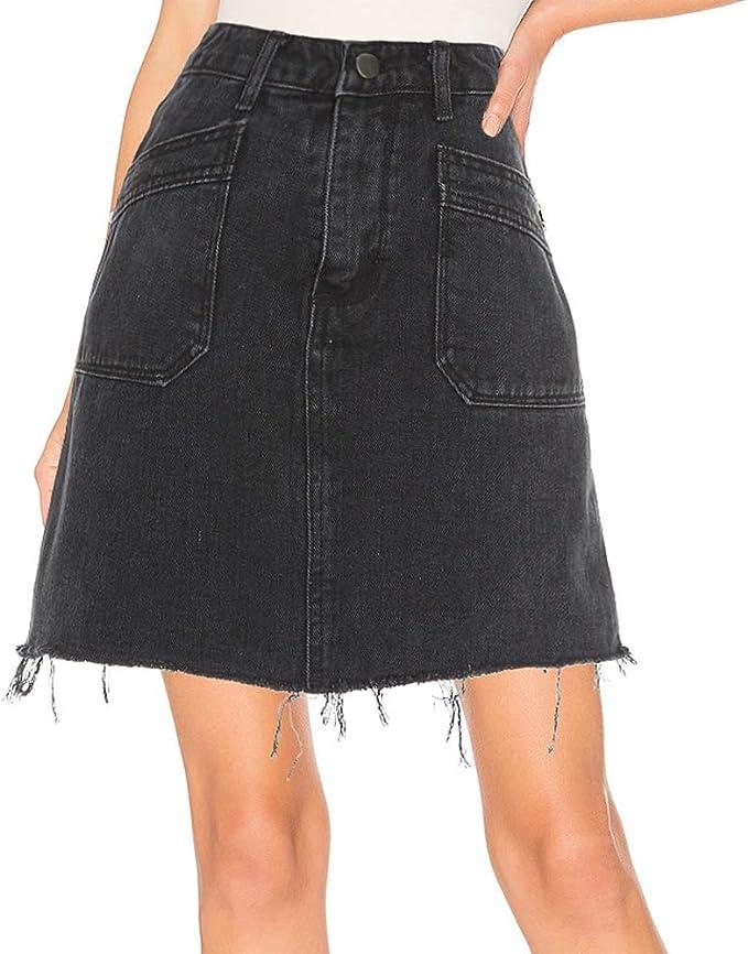 kefirlily Falda Vaquero Mujer Vintage Cintura Alta Sexy Falda ...