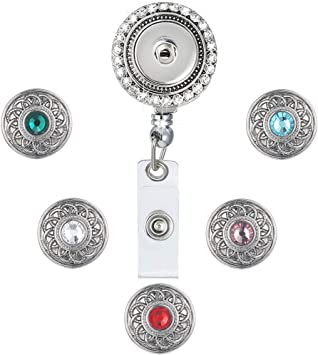 5 Snap Office ID Reel With Crystal Badge Holders Holder Retractable Heavy Duty