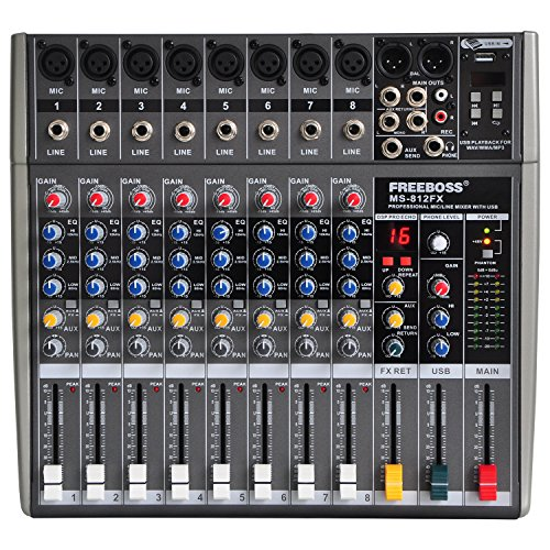 Freebos Ms812fx 8 Mono Channels 16 DSP Audio Mixer with USB (8 Channel Audio Mixer)