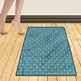 WolfgangDecor Damask Door Mat outside Floral Ornament with Antique Curly Motifs Artful Vintage Victorian Design Bathroom Mat for tub Non Slip 20''x32'' Turquoise Grey White