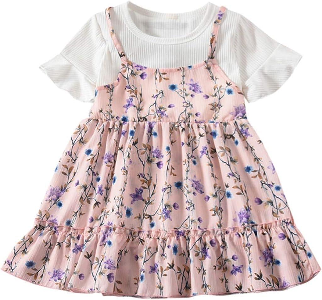 BSGSH Little Girls Short Sleeve Casual Dress Flower Patchwork Swing Sundress for Baby Girls