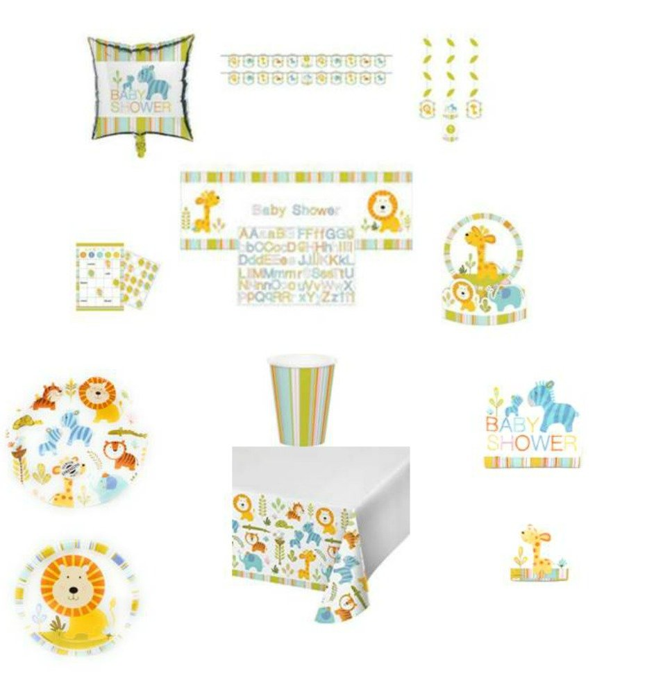 ShoppeShare Happi Jungle Baby Shower Dinnerware/Decorations Combo Pack 12-Piece Bundle, Serves 8 (Plates/Napkins/Cups/Tablecloth/Favors/Decorations) by ShoppeShare