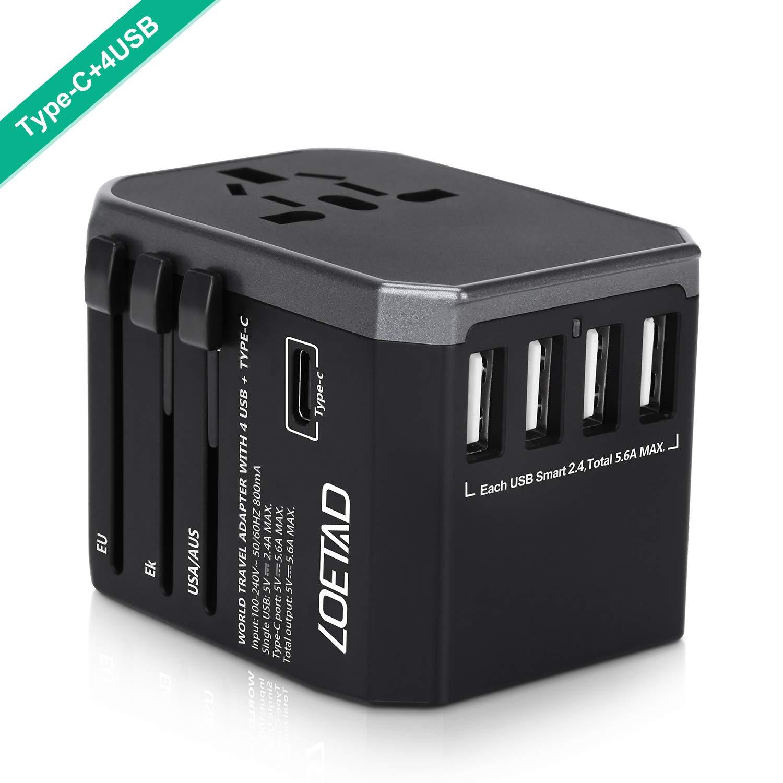 LOETAD Adattatore Universale da Viaggio con 4 Porte USB e 1 Interfaccia Type-C per l'utilizzo Negli Stati Uniti, Regno Unito, Europa, Australia, Asia, ecc. Onmi shop