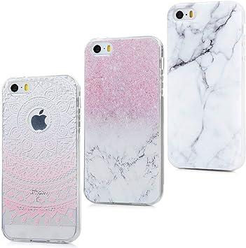 MAXFE.CO 3X Coque iPhone 5S iPhone Se iPhone 5 Etui en TPU Protection Silicone Licorne Antichoc Original Motif Case Cover Coque pour iPhone 5 Fleur de ...