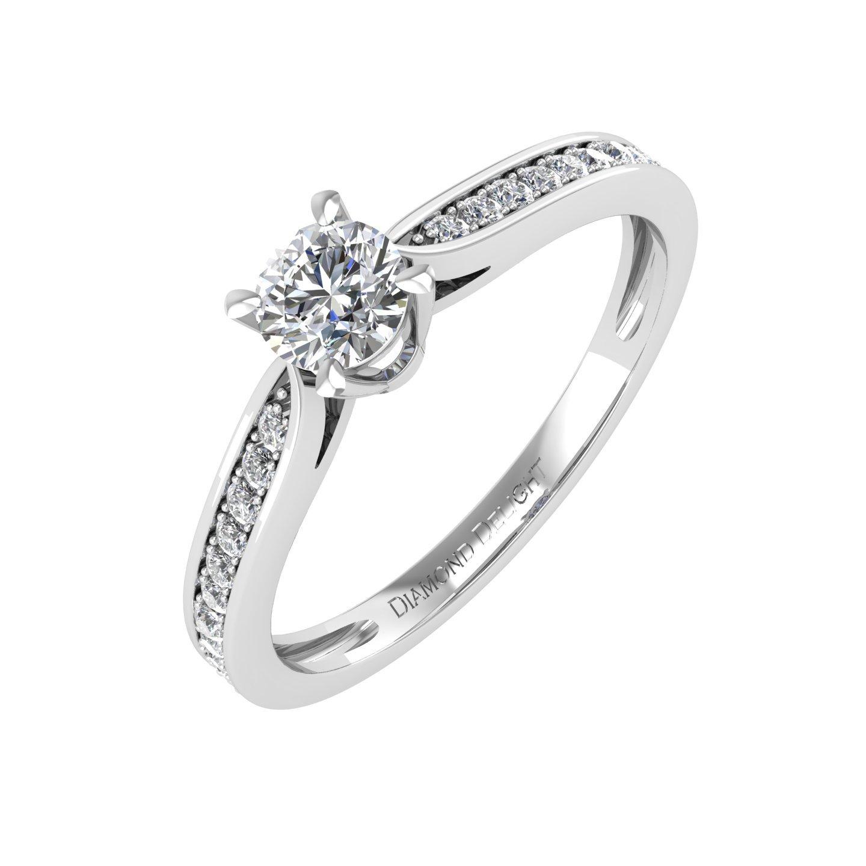 IGI Certified 10k White Gold Diamond Engagement Band Ring (0.27 Carat)