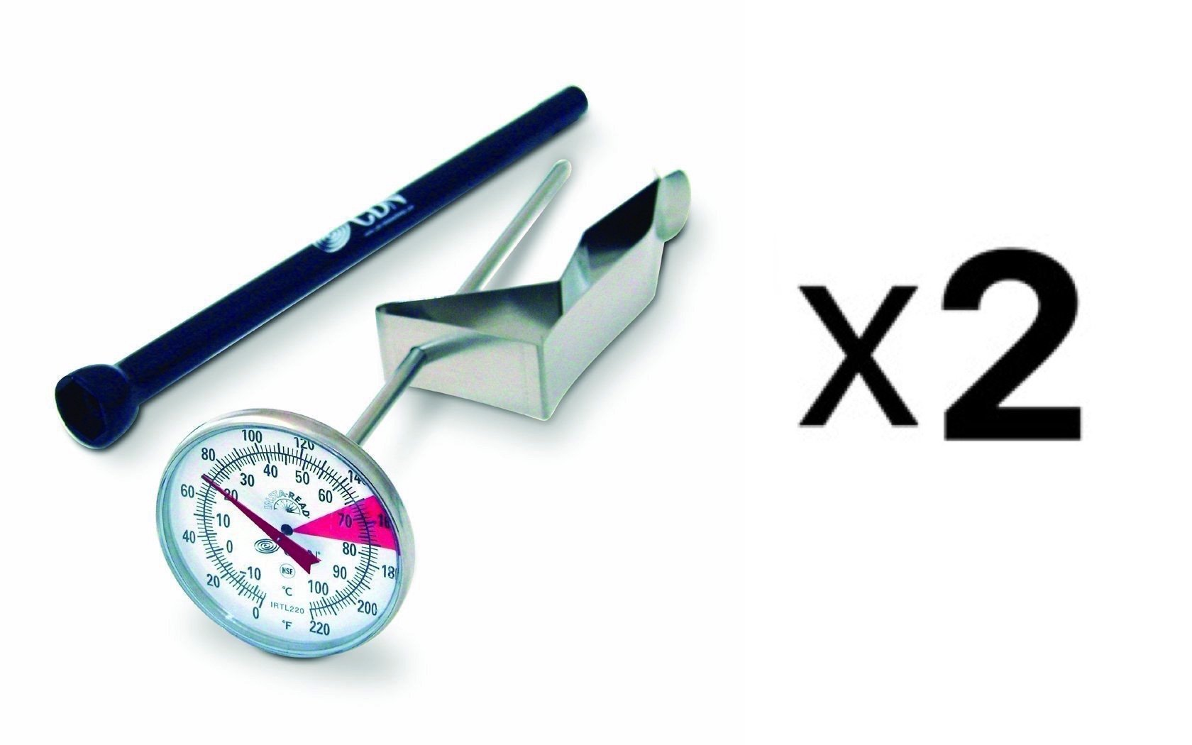 CDN IRTL220 Proaccurate Insta Read Beverage and Frothing Thermometer - Set of 2