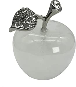 Neyisaa Rock Quartz Crystal Apple Decor, Healing Crystals Pocket Stone Fruit Figurine Craft Home Decoration 30mm