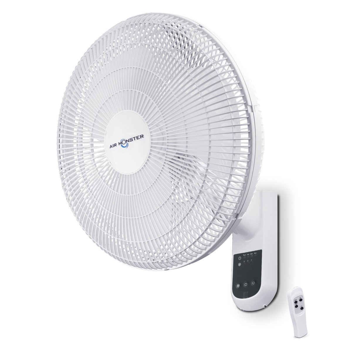 Air Monster Wall Mount Fan - 16 Inch | Remote Control Wall Fan with 90 Degree Oscillation, 3 Speed Settings, Adjustable Tilt - ETL Listed, White