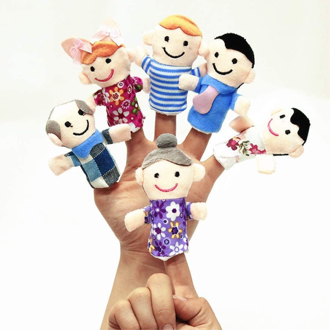 Shows Playtime Amytrade Mini Grandparents 6/&16 Piece Schools Brother /& Sister Family Style Finger Puppets for Children Mom /& Dad