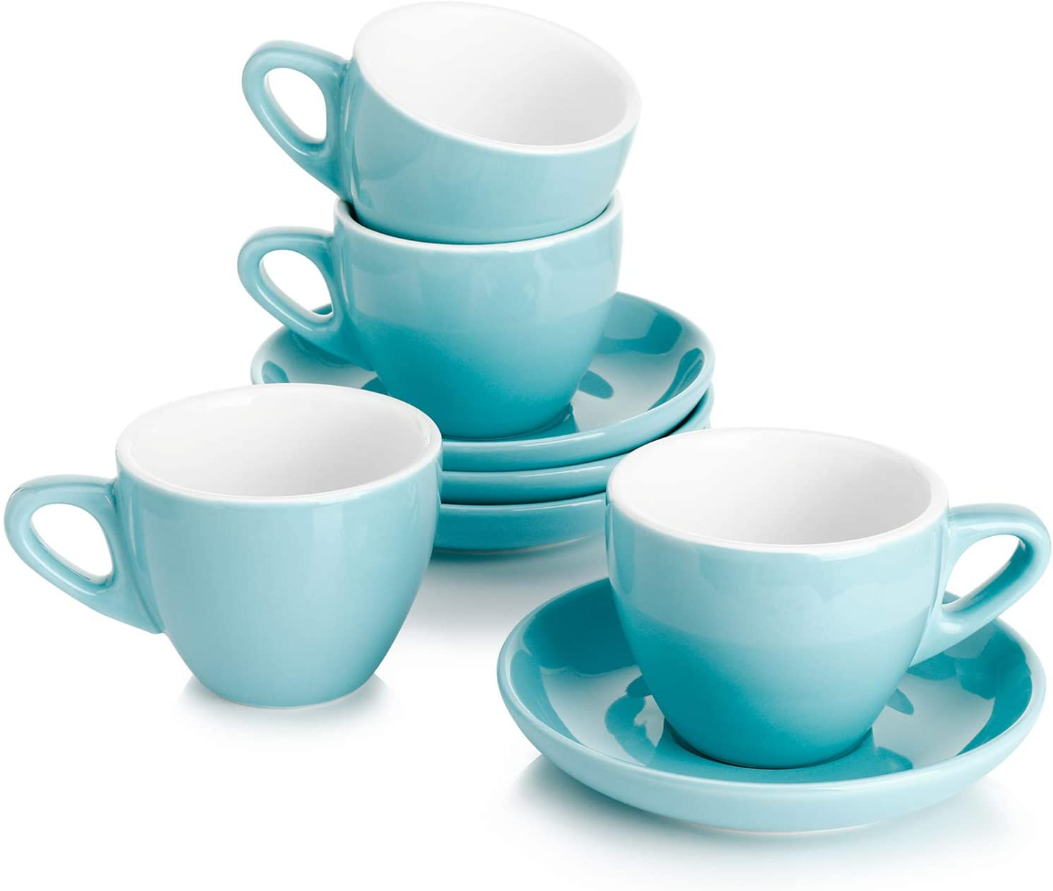 Sweese 401.402 Porcelain Espresso Cups with Saucers - 2 Ounce - Set of 4, Turquoise