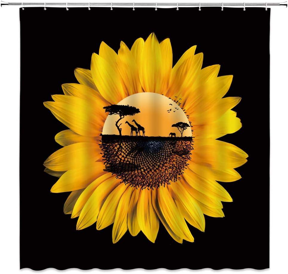 Sunflower Shower Curtain Anstract Sunflower African Wild Animal Giraffe Elephant Silhouette Creative Rustic Fabric Bathroom Decor Sets with 12 Hooks,71X71 Inchs,Yellow Black