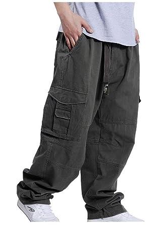 orologio 59de3 1e8dd BoBo-88 Pantaloni Cargo da Uomo Stile Hip-Hop Pantaloni Stile Casual  Pantaloni Larghi con Gamba Dritta Stile Slip Bag Larghi