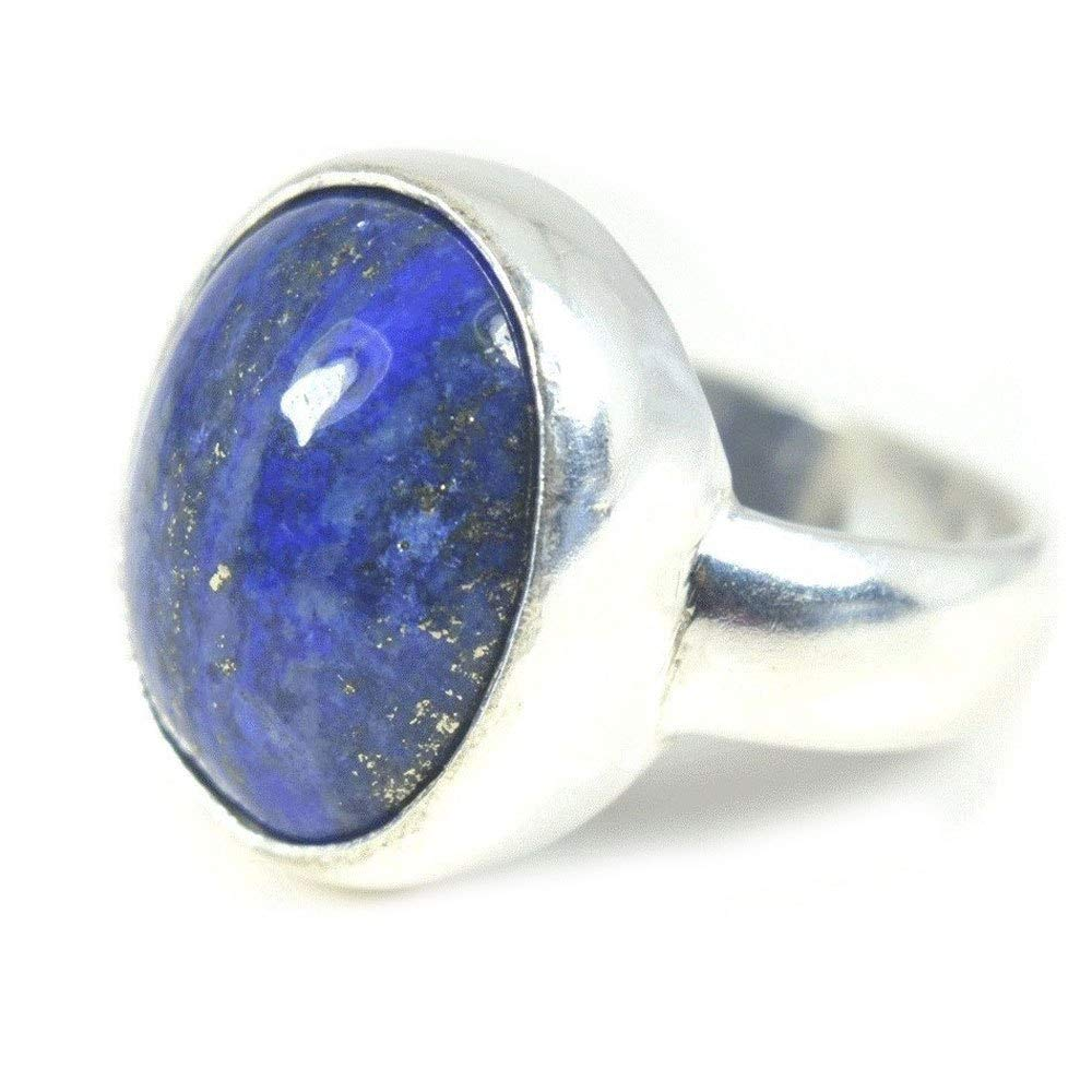 Jewelryonclick 5 Carat Natural Lapis Lazuli Silver Rings for Womens Chakra Healing Jewelry in Size 5-13