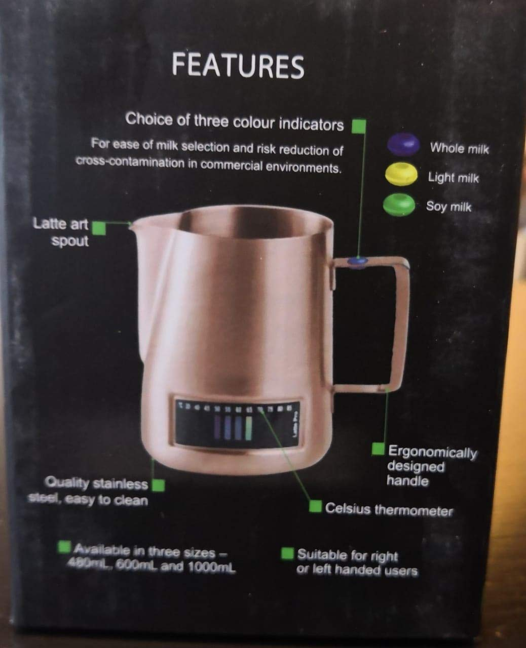 Andronicas Latte Pro Copper Temperature Control Milk Texturing Jug with Thermometer /& 3 Colour Indicator Buttons 480 ML Milk Frothing Pitcher For Milk Steaming