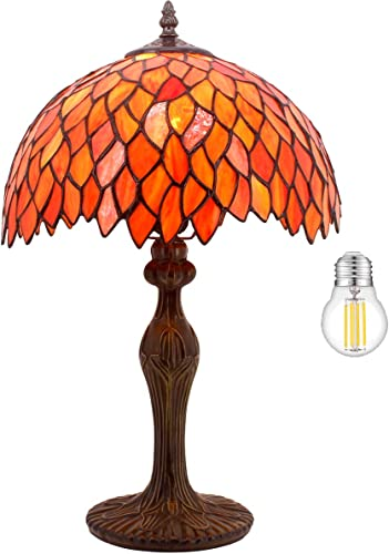 Tiffany Lamp Red Wisteria Style Table Desk Reading Light W12H18 Inch LED Bulb Included S523R WERFACTORY Lamps Lover Living Room Bedroom Study Office Coffee Bar Bookcase Bedside Antique Craft Gifts