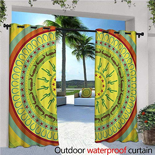 homehot Southwestern Exterior/Outside Curtains Wild West Cowboy Themed Mandala Design Colorful Circles Bull Horns Saguaro for Patio Light Block Heat Out Water Proof Drape W84 x L84 Multicolor