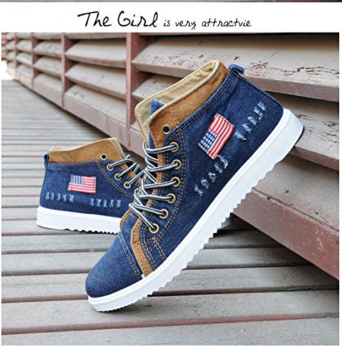 Gaorui Fashion Men Suede Martin Boots Lace up Loafers High Top Sneakers Ankle Shoes Blue cTHOm