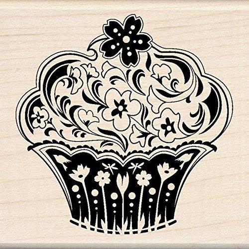 Inkadinkado Mounted Rubber Stamp, 2.75 by 2.75-Inch, Spring Flower Cupcake