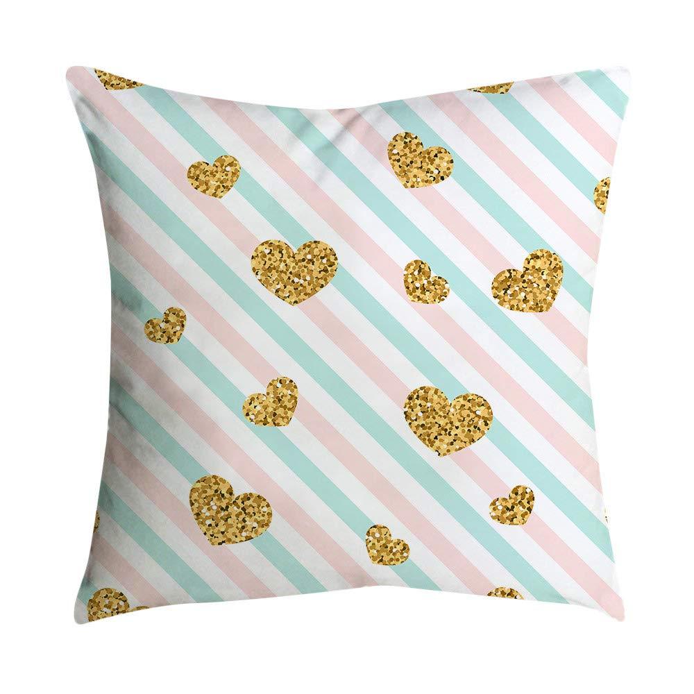 Pgojuni Small Fresh Pink Series Pillowcase Polyester Throw Pillow Cover Cushion Polyester Cover Pillow Case Home Decor 1pc (45cm X 45cm) (B)