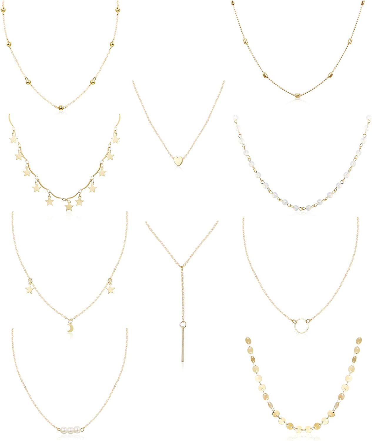 Amazon Com Funrun Jewelry 10pcs Layered Chocker Necklace For Women Girls Multilayer Chain Necklace Set Adjustable 10pcs Gold Tone Clothing