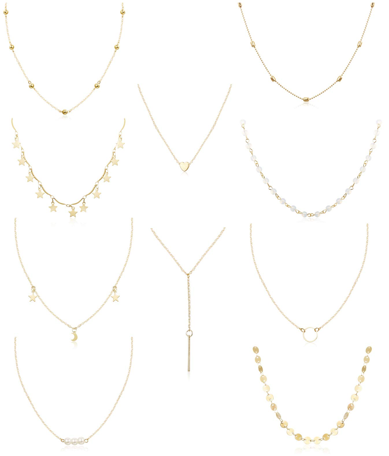 FUNRUN JEWELRY 10PCS Layered Chocker Necklace for Women Girls Multilayer Chain Necklace Set Adjustable (10PCS Gold-Tone)