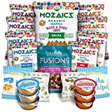 Premium Natural Snacks Care Package - Great College Gift or Sampler, Healthy Variety Pack - Mozaics Chips, Veggicopia Dips & Olives, Handfulls Fusions Nut Mix, Crunchicopia Pita Chips (20 Count)