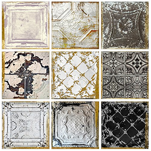 Wall Art Framed Tile - The Stupell Home Decor Collection Vintage Tin Tiles 9 Pc Wall Art Set, 9 Piece
