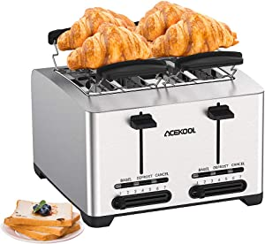 4 Slice Toaster Stainless Steel, Extra-Wide Toaster Bread Toasting Slot Compact Toaster for Bread Waffle Bagel, 7 Toast Shade Settings Selector Reheat Defrost and Cancel Function Removable Crumb Tray 2 High Lift Lever 1500W