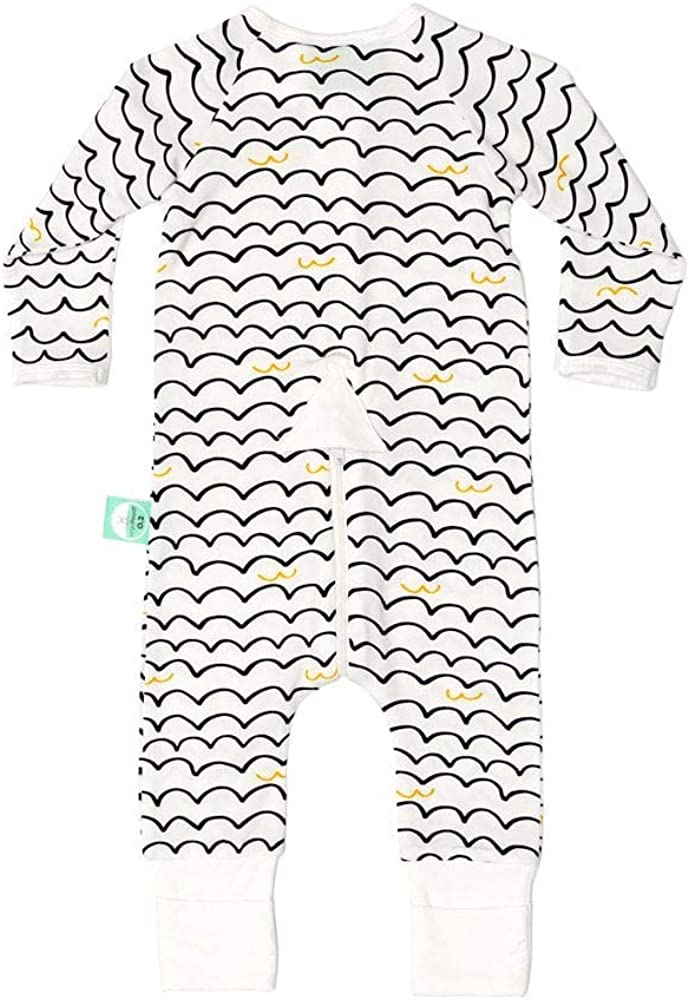 0-3M White Bamboo Layers L//S ErgoPouch 0.2tog Waves