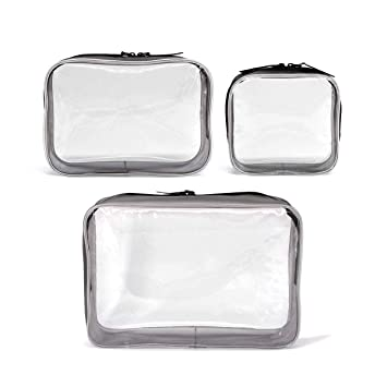 1e3deb58d891 3 Pack Clear Cosmetics Makeup Bags, Waterproof Plastic Travel Toiletry  Organizer Cases (Small Medium...