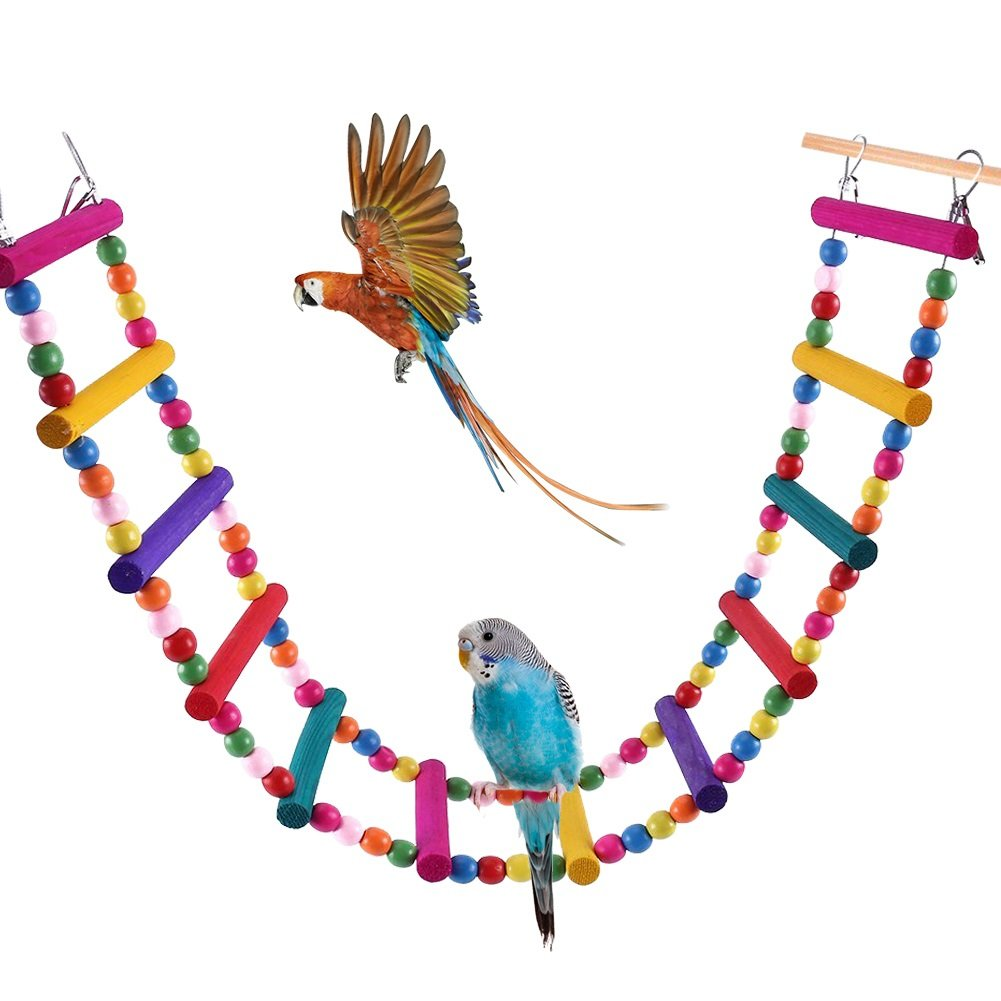 Bonaweite Bird Parrot Toys, Naturals Rope Colorful Step Ladder Swing Bridge for Pet Trainning Playing, Flexible Birds Cage Accessories Decoration for Cockatiel Conure Parakeet by Bonaweite