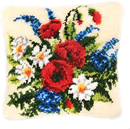 Latch Hook Rug Kit Cushion Pollow Mat DIY Craft Flower carpet embroidery Cross Stitch Needlework Rug