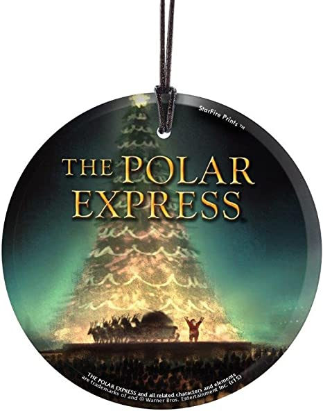 Amazon Com The Polar Express Santa And Christmas Tree Starfire Prints Hanging Glass Ideal For Gifting And Collecting Home Kitchen