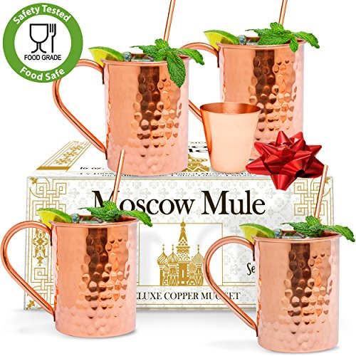 Benicci Moscow Mule Copper Mugs - Set of 4 - 100% HANDCRAFTED - Food Safe Pure Solid Unlined Copper Mugs 16 oz Gift Set - BONUS Highest Quality Copper Shot Glass and Cocktail Straws - Christmas Gift (What To Get Boyfriend On Valentines Day)